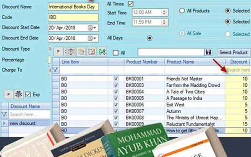 Bookstore software to manage title  or genre based discount