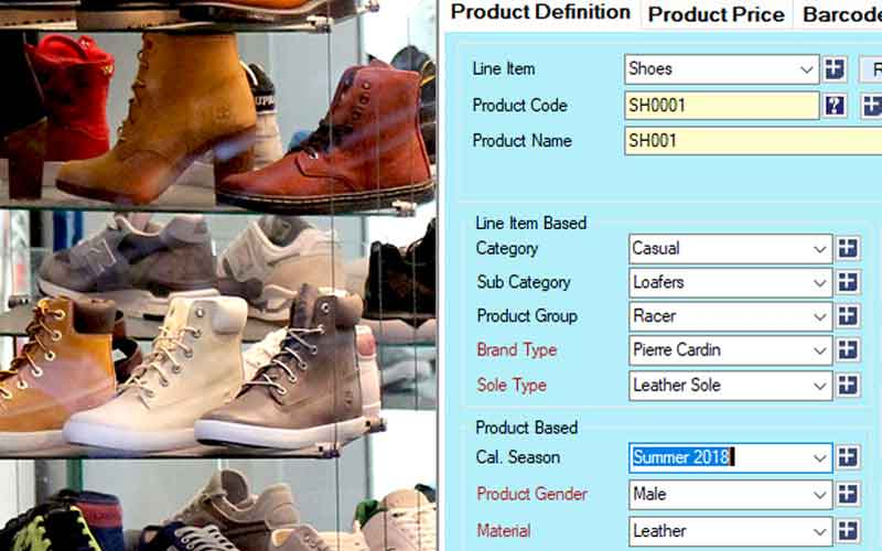 Shoe store POS-Attach attribute tags in Candela Footwear Inventory Software