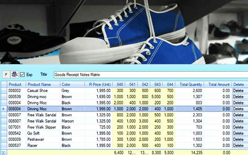 Shoe store POS- Enter footwear stock in matrix format with candela
