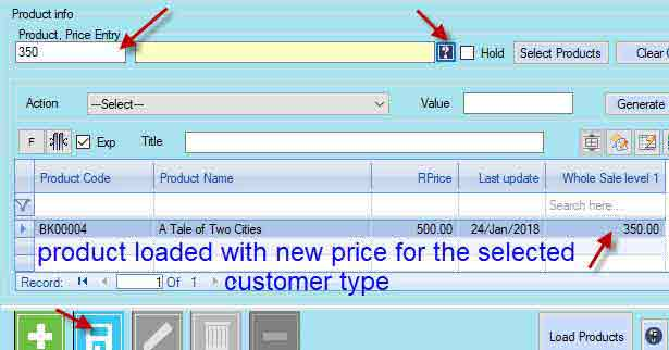 changing product price of a single product in Candela